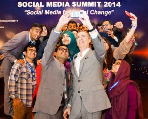 U.S Ambassador to Pakistan Richard Olson taking his first selfie with IVLP Alumnus Abdullah Dayo at the Social Media Summit