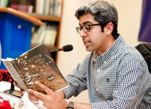 "Fulbright Alumnus Bilal Tanweer reads from ""The Scatter Here Is Too Great"" at the United States Educational Foundation in Pakistan on 28 February, 2014."
