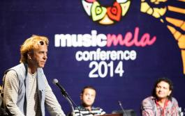 Todd Puckhaber, of SXSW Music Festival addresses Music Mela attendees.