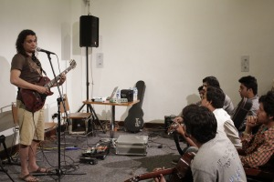 Musician Mekaal Hassan leads a guitar workshop at Music Mela.