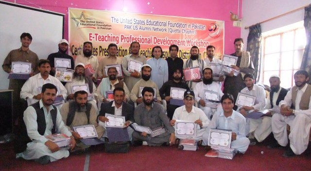 Group Photo of workshop participants with Alumnus Nazeer Ahmed after distribution of certificates at closing ceremony of E-Teaching Professional Development Workshop for male teachers on May 13th, 2014.