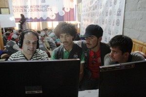 Students learning video editing from Trainer Majid Ali Khan