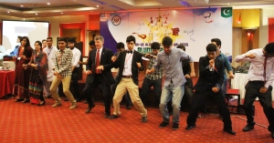 Chief Guest U.S Consulate Peshawar Public Affairs Officer Raymond Stephens doing the Cha Cha Slide with YES Alumni