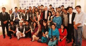 Members of Youth Eye Citizen Journalist led by CCIP Alumnus Amin Muhammad with Minister Counsel for Public Affairs Thomas Leary at Islamabad Chapter Reunion