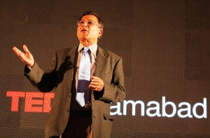 Renowned Intellectual Pervez Hoodbuoy during his TED Talk in Islamabad