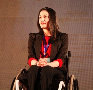 Artist Muniba Mazari during her TED Talk
