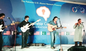 Center Stage Alumnus Arieb Azhar during his musical performance at PUAN-GEW Conference