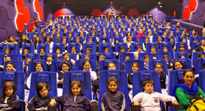 School children watching screening of movies at the auditorium