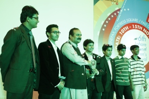 Winning participants--LACAS Students receiving the top prize from Chief Guest Rana Mashood