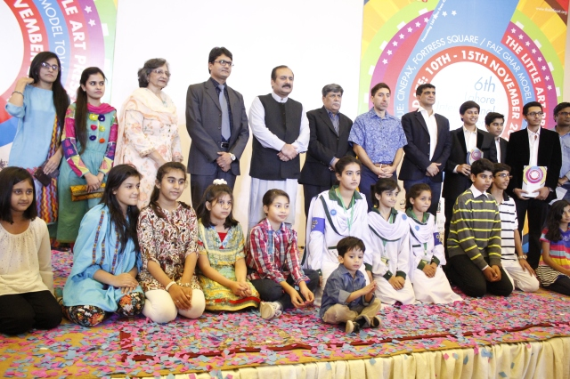 Participants with chief guest, judges and Alumnus Shoaib Iqbal at the opening ceremony of the 6th Lahore International Children's Film Festival