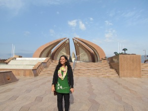 Aarefa Johari at the Pakistan Monument on the last day of the Women Empowerment Conference