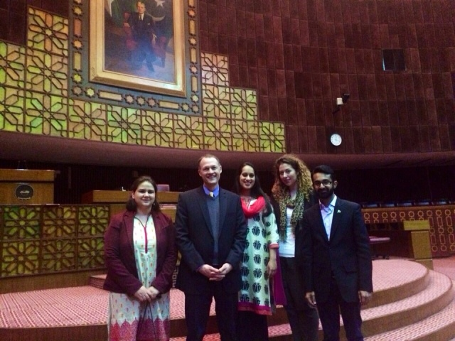 (From Left to Right) Ariel Geist, Tom Fricke, Neha Deshpande, Rebecca Howland with Pakistani SUSI Alumnus Daniyal Hassan at the National Assembly of Pakistan