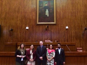 (From Left to Right) Rebecca Howland, Ariel Geist, Tom Fricke, Neha Deshpande with Pakistani SUSI Alumnus Daniyal Hassan at the Senate Hall