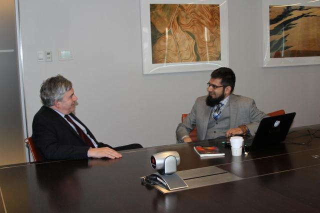 Fulbright Alumnus Dr. Zeeshan-ul-Hassan Usmani with Former U.K Prime Minister Gordon Brown at United Nations Headquarters on March 18th, 2015.