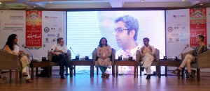 (From Left to Right) Fulbright Alumna Ayesha Fazlur Rehman, Pulitzer Prize winning Author Paul Harding, Theatre Wallay Director Fizza Hassan, Bilal Tanveer Author 'The Scatter Here is Too Great' and US Embassy's Cultural Attaché Judith Ravin during the session