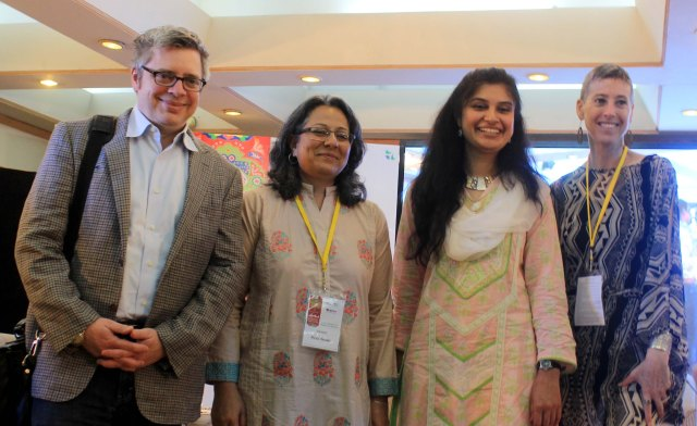 (From Left to Right) Pulitzer Prize winning Author Paul Harding, Theatre Wallay Director Fizza Hassan, Fulbright Alumna Ayesha Fazlur Rehman and US Embassy's Cultural Attaché Judith Ravin