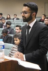 SUSI Alumnus Daniyal Hassan arguing during the competition